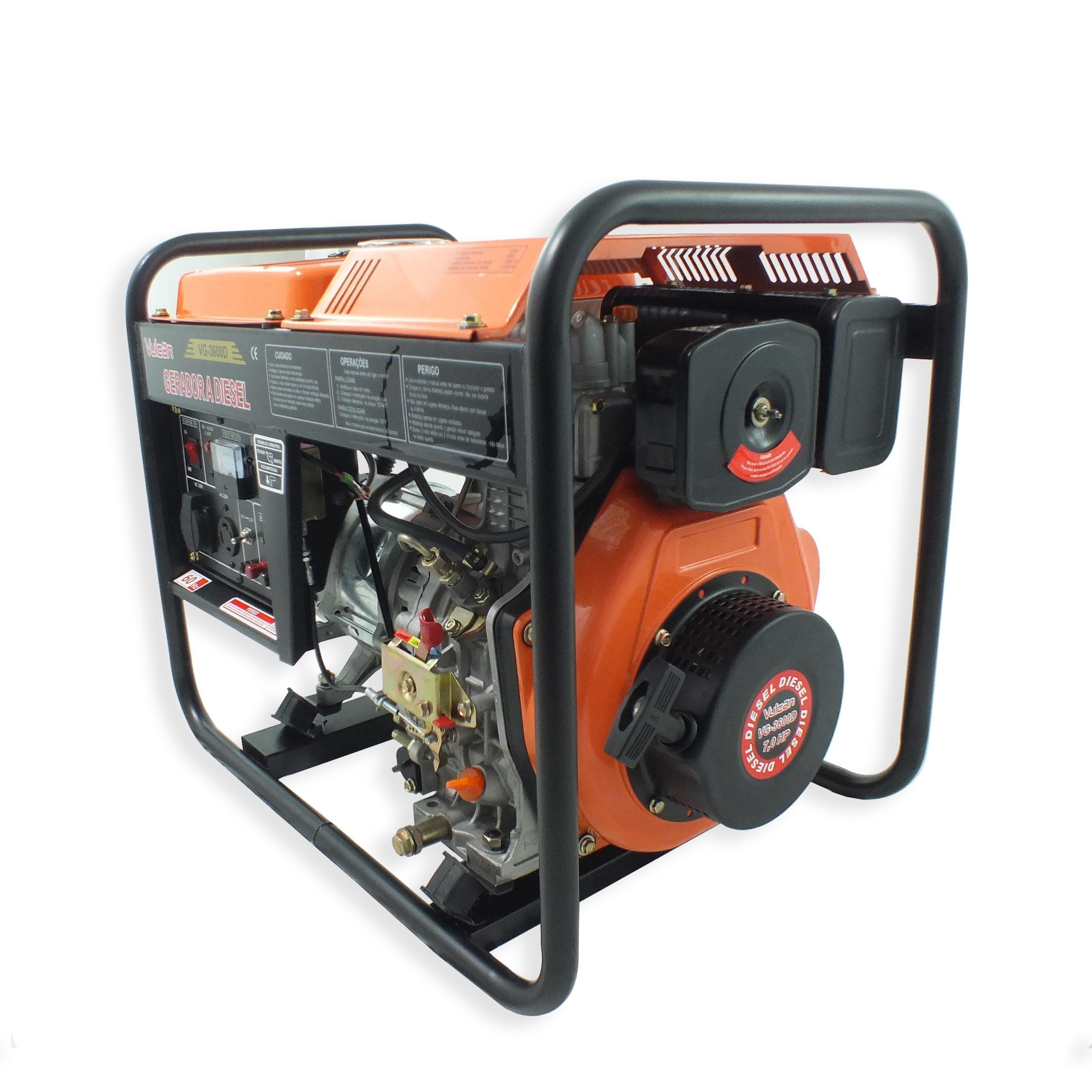 Gerador VG3600D VULCAN Diesel 269CC 7HP 3600W Bivolt com Partida Manual
